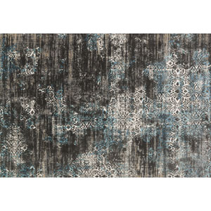 Kingston Charcoal and Blue Rectangular: 2 Ft 7 In x 3 Ft 9 In Rug