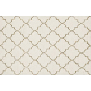 Panache Ivory and Beige Rectangular: 5 Ft x 7 Ft 6 In Rug