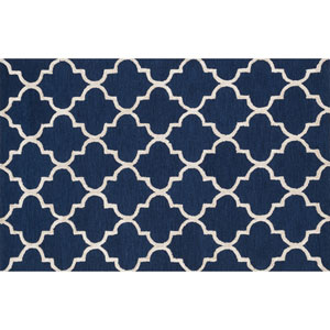 Panache Navy and Silver Rectangular: 2 Ft 3 In x 3 Ft 9 In Rug