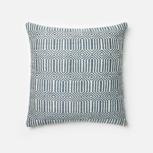 Blue and Ivory 22-Inch Decorative Pillow with Poly Insert