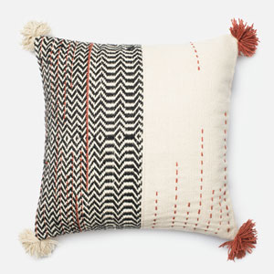 Black and Ivory 22-Inch Decorative Pillow with Down Insert