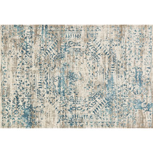 Kingston Ivory and Blue Rectangular: 2 Ft 7 In x 3 Ft 9 In Rug