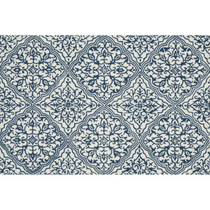 Francesca Ivory and Blue Rectangular: 2 Ft 3 In x 3 Ft 9 In Rug