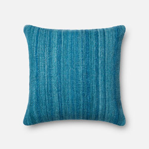 Blue 22-Inch Decorative Pillow with Poly Insert