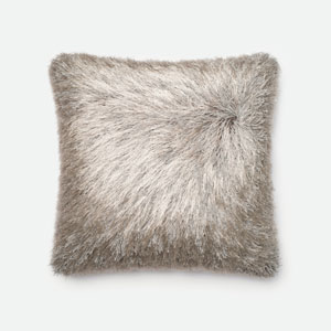 Silver 22-Inch Decorative Pillow with Poly Insert