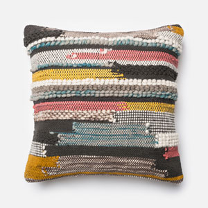 Multicolor 22-Inch Decorative Pillow with Down Insert