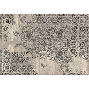 Emory Ivory and Charcoal Rectangular: 3 Ft 10 In x 5 Ft 7 In Rug