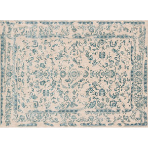 Florence Ivory and Aqua Rectangular: 2 Ft 7 In x 4 Ft Rug