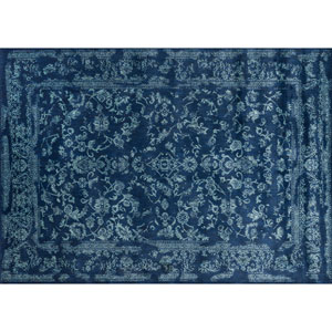 Florence Navy and Aqua Rectangular: 2 Ft 7 In x 4 Ft Rug
