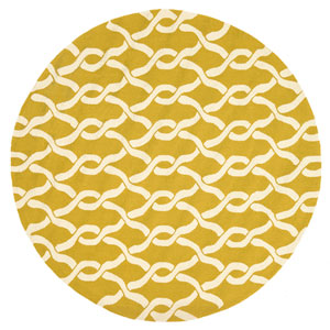 Venice Beach Goldenrod and Ivory Round: 7 Ft 10 In Rug
