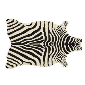 Zadie Black and Ivory Novelty: 3 Ft 6 In x 5 Ft 6 In Rug