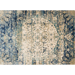 Anastasia Blue and Ivory Rectangular: 2 Ft 7 In x 4 Ft Rug