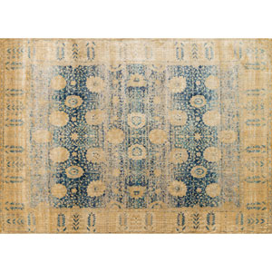 Anastasia Blue and Gold Rectangular: 2 Ft 7 In x 4 Ft Rug