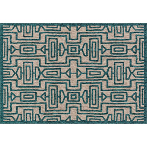 Newport Grey and Teal Rectangular: 2 Ft 2 In x 3 Ft 9 In Rug