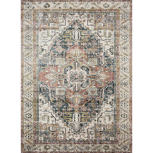 Anastasia Ivory and Multicolor Rectangular: 6 Ft. 7 In. x 9 Ft. 2 In. Rug