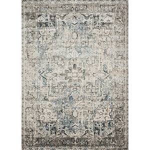 Anastasia Blue and Slate Round: 5 Ft. 3 In. x 5 Ft. 3 In. Rug