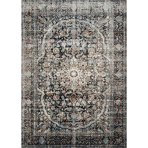Anastasia Charcoal and Sunset Rectangular: 7 Ft. 10 In. x 10 Ft. 10 In. Rug