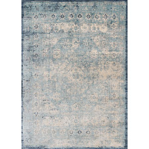 Anastasia Light Blue and Ivory Round: 5 Ft. 3-Inch x 5 Ft. 3-Inch Rug
