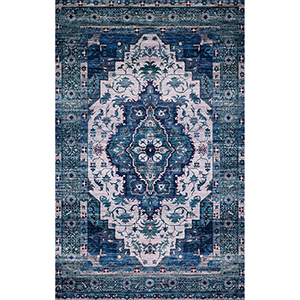 Cielo Ivory and Turquoise Rectangular: 5 Ft. x 7 Ft. 6 In. Rug
