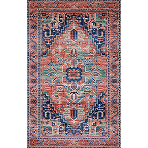 Cielo Coral and Multicolor Rectangular: 5 Ft. x 7 Ft. 6 In. Rug