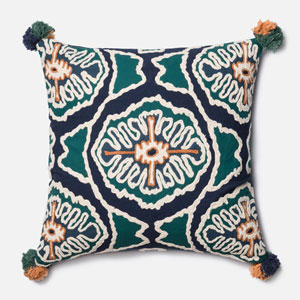 Blue and Teal 22-Inch Pillow with Down Insert