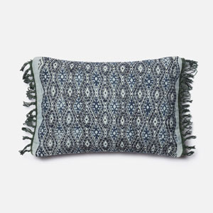 Blue and Grey 13 x 21-Inch Pillow with Down Insert