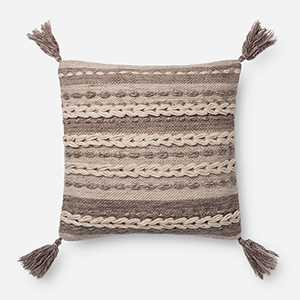 Dark Taupe 18 In. x 18 In. Throw Pillow with Down Fill