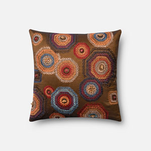 Multicolor 18-Inch Square Throw Pillow with Down