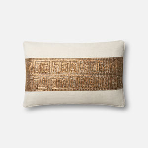 Ivory and Gold 13 x 21 In. Pillow with Down Fill