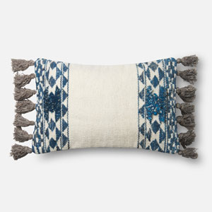Blue and Ivory 13 x 21 In. Pillow with Down Fill