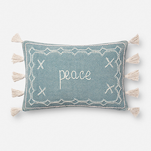 Light Blue 13 In. x 21 In. Throw Pillow with Down Fill