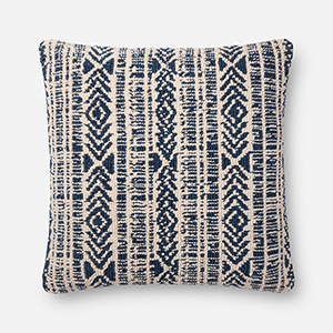 Blue and Natural 22 In. x 22 In. Throw Pillow with Down Fill