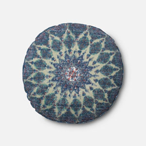 Blue and Teal 20-Inch Round Pillow with Down Insert