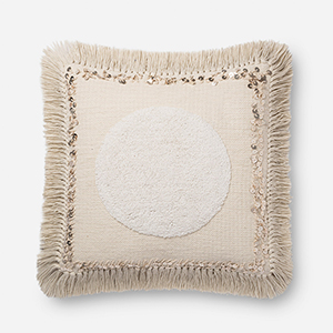 Natural 22 In. x 22 In. Throw Pillow with Down Fill