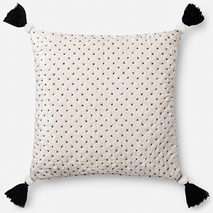 White and Black 22 In. x 22 In. Throw Pillow with Down Fill