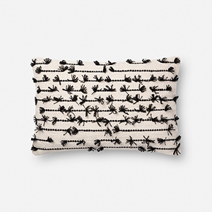 White and Black 13 In. x 21 In. Throw Pillow with Down Fill