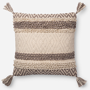 Natural and Brown 22 In. x 22 In. Throw Pillow with Down Fill