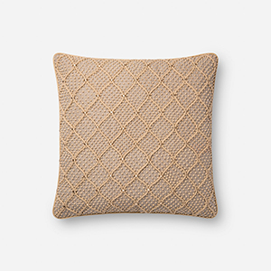 Natural and Gold 18 In. x 18 In. Throw Pillow with Down Fill