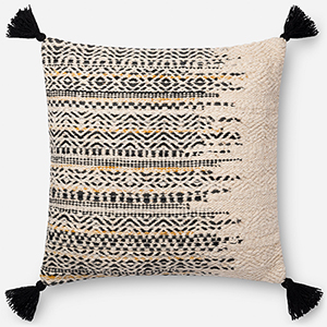 Black and White 22 In. x 22 In. Throw Pillow with Down Fill