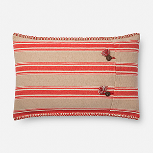 Red and Natural 16 In. x 26 In. Throw Pillow with Down Fill