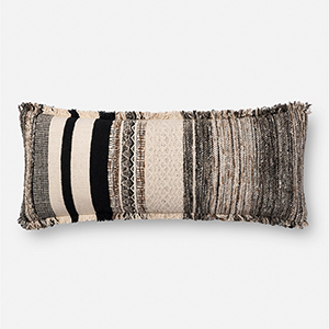 Black and Natural 13 In. x 35 In. Throw Pillow with Down Fill