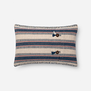 Indigo and Natural 13 In. x 21 In. Throw Pillow with Down Fill