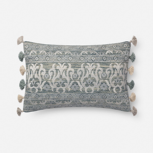 Aqua and Silver 13 In. x 21 In. Throw Pillow with Down Fill