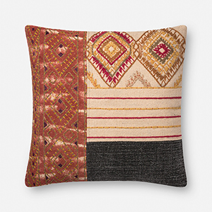 Rust and Grey 22 In. x 22 In. Throw Pillow with Down Fill