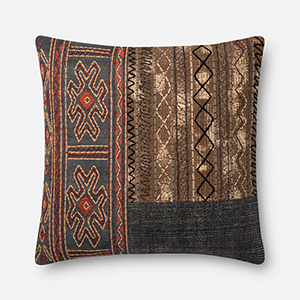 Grey and Brown 22 In. x 22 In. Throw Pillow with Down Fill