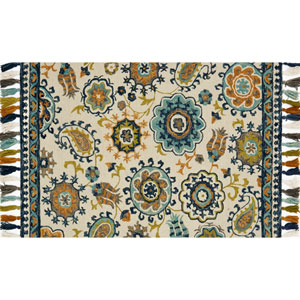 Farrah Ivory and Blue Rectangular: 2 Ft. 3-Inch x 3 Ft. 9-Inch Area Rug