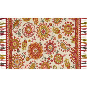 Farrah Ivory and Berry Rectangular: 2 Ft. 3-Inch x 3 Ft. 9-Inch Area Rug