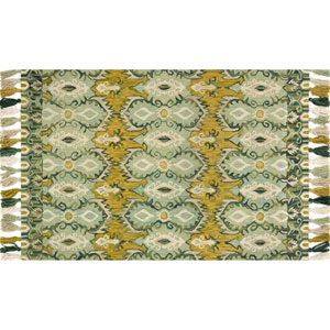 Farrah Aqua and Lime Rectangular: 2 Ft. 3-Inch x 3 Ft. 9-Inch Area Rug