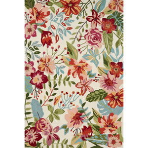 Francesca Ivory and Berry Rectangular: 3 Ft. 6 In. x 5 Ft. 6 In.  Rug