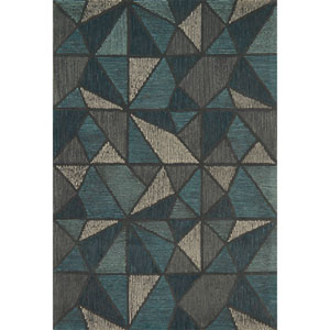 Gemology Teal and Gray Rectangular: 3 Ft. 6-Inch x 5 Ft. 6-Inch Rug